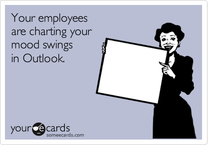 Your employees are charting your  mood swings  in Outlook.