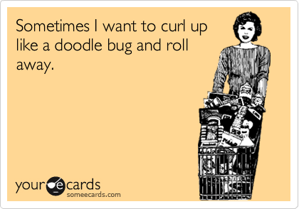 Sometimes I want to curl up like a doodle bug and roll away.
