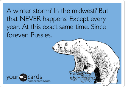 A winter storm? In the midwest? But that NEVER happens! Except every year. At this exact same time. Since forever. Pussies.