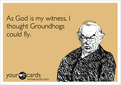 As God is my witness, I  thought Groundhogs  could fly.