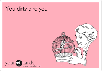 You dirty bird you.
