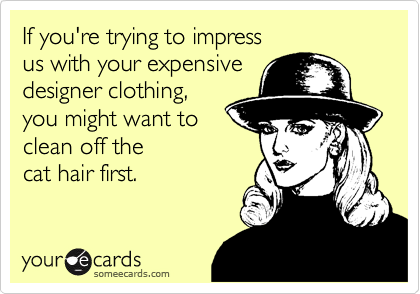 If you're trying to impress us with your expensive designer clothing, you might want to clean off the  cat hair first.