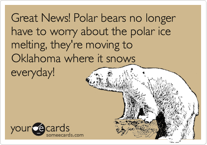 Great News! Polar bears no longer have to worry about the polar ice melting, they're moving to Oklahoma where it snows everyday!