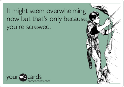 It might seem overwhelming now but that's only because you're screwed.