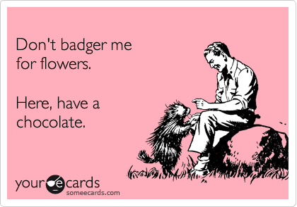 Don't badger me  for flowers.  Here, have a chocolate.