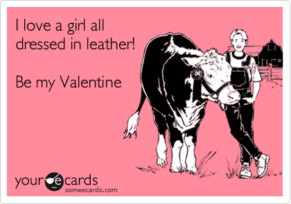 I love a girl all dressed in leather!  Be my Valentine