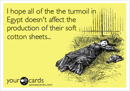 I hope all of the the turmoil in Egypt doesn't affect the production of their soft cotton sheets...