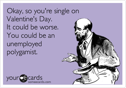 Okay, so you're single on Valentine's Day.   It could be worse. You could be an unemployed polygamist.