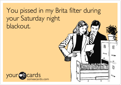 You pissed in my Brita filter during your Saturday night blackout.