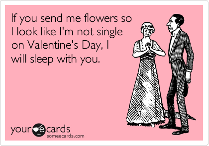 If you send me flowers so  I look like I'm not single  on Valentine's Day, I  will sleep with you.
