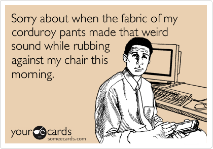 Sorry about when the fabric of my corduroy pants made that weird sound while rubbing  against my chair this morning.