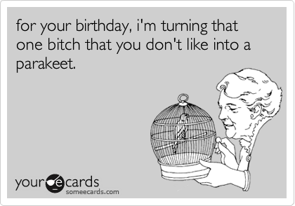 for your birthday, i'm turning that one bitch that you don't like into a parakeet.
