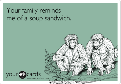 Your family reminds me of a soup sandwich.