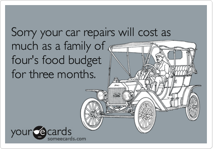 Sorry your car repairs will cost as much as a family of four's food budget for three months.