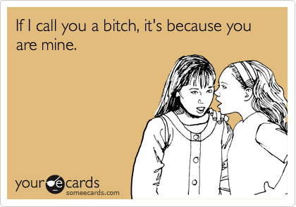 If I call you a bitch, it's because you are mine.