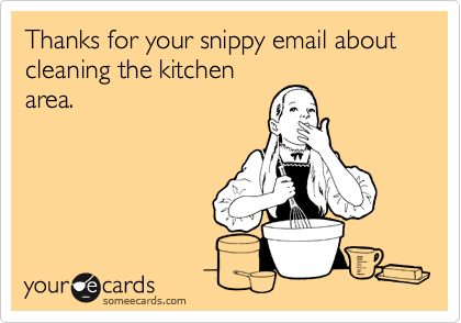 Thanks for your snippy email about cleaning the kitchen area.