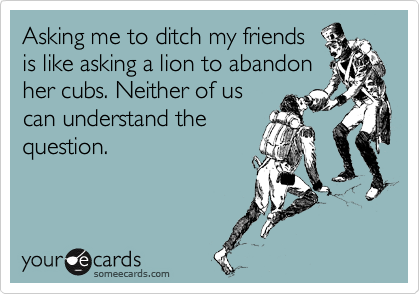 Asking me to ditch my friends is like asking a lion to abandon her cubs. Neither of us can understand the question.