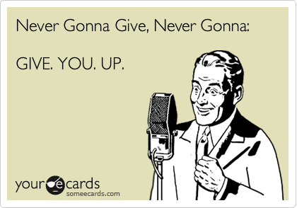 Never Gonna Give, Never Gonna:  GIVE. YOU. UP.
