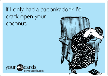 If I only had a badonkadonk I'd crack open your coconut.