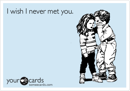 I wish I never met you.