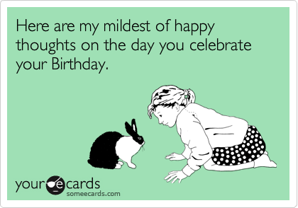 Here are my mildest of happy thoughts on the day you celebrate your Birthday.
