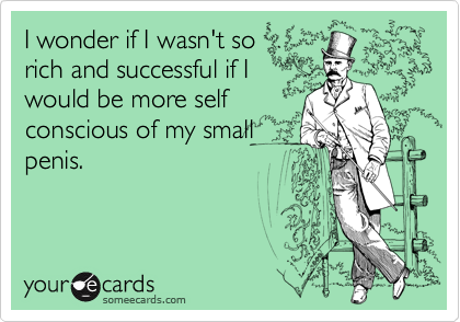 I wonder if I wasn't so rich and successful if I would be more self conscious of my small penis.