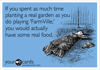 If you spent as much time planting a real garden as you do playing 'FarmVille,' you would actually have some real food.