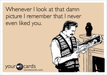 Whenever I look at that damn picture I remember that I never even liked you.