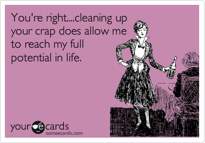 You're right....cleaning up your crap does allow me to reach my full potential in life.