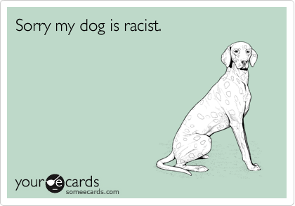 Sorry my dog is racist.