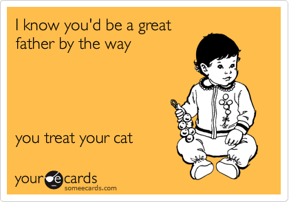 I know you'd be a great father by the way      you treat your cat