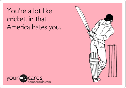 You're a lot like  cricket, in that America hates you.