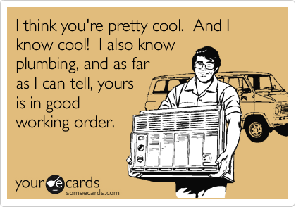 I think you're pretty cool.  And I know cool!  I also know plumbing, and as far as I can tell, yours  is in good working order.