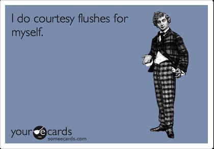 I do courtesy flushes for myself.