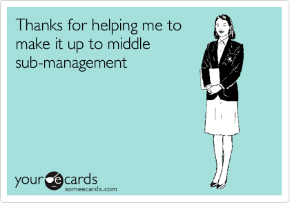 Thanks for helping me to make it up to middle sub-management