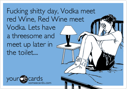 Fucking shitty day, Vodka meet red Wine, Red Wine meet Vodka. Lets have a threesome and meet up later in the toilet....