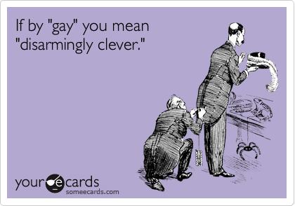 """If by """"gay"""" you mean """"disarmingly clever."""""""