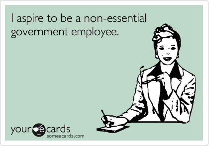 I aspire to be a non-essential government employee.