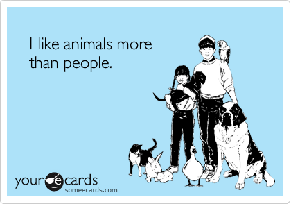 I like animals more     than people.