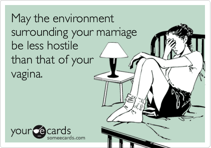 May the environment surrounding your marriage be less hostile than that of your vagina.