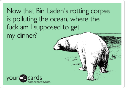 Now that Bin Laden's rotting corpse is polluting the ocean, where the fuck am I supposed to get  my dinner?