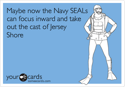 Maybe now the Navy SEALs can focus inward and take out the cast of Jersey Shore