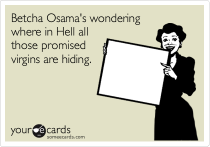 Betcha Osama's wondering where in Hell all those promised virgins are hiding.