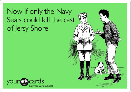 Now if only the Navy Seals could kill the cast of Jersy Shore.
