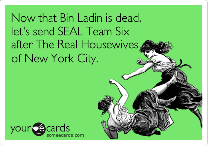 Now that Bin Ladin is dead,  let's send SEAL Team Six  after The Real Housewives  of New York City.