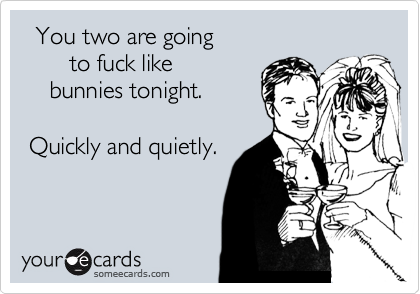You two are going        to fuck like     bunnies tonight.   Quickly and quietly.
