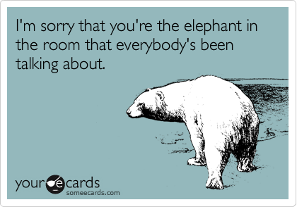 I'm sorry that you're the elephant in the room that everybody's been talking about.