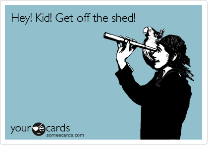 Hey! Kid! Get off the shed!