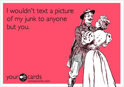 I wouldn't text a picture of my junk to anyone but you.