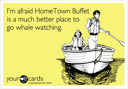 I'm afraid HomeTown Buffet is a much better place to go whale watching.